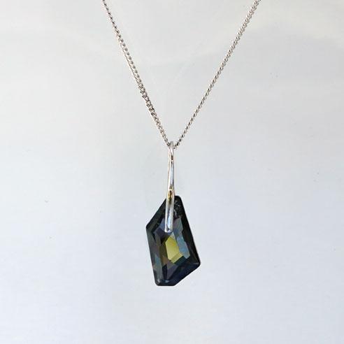 Rhodium plated Silver Necklace with a Silver Night angular shaped Swarovski crystal -Retha Designs.