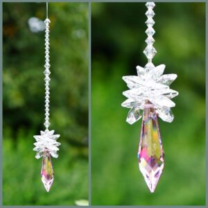 Star on top of pink pendulum suncatcher-Swarovski crystals-Retha Designs