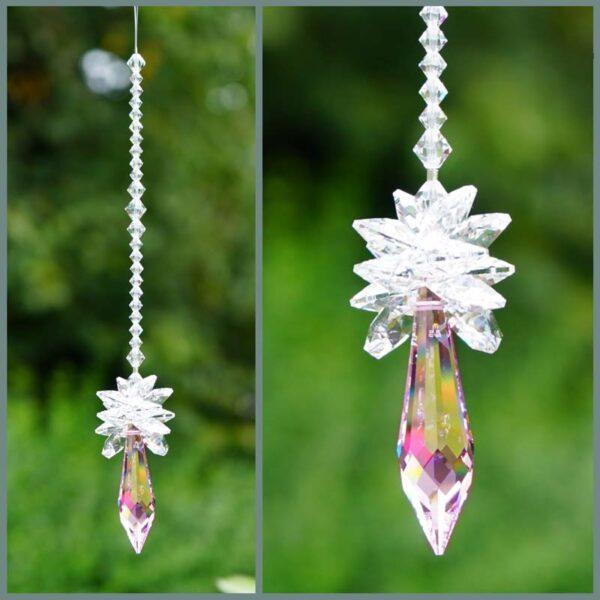 Star on top of pink pendulum suncatcher-Swarovski crystals-Retha Designs
