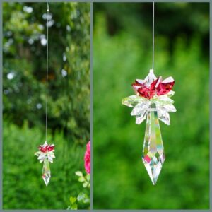 CHRISTMAS ornament -Red Peridot and Clear Star Top on Icicle Pendulum Suncatcher - created with Swarovski ® crystals