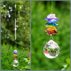Chakra Ball - 30mm Ball shaped crystal with cascade of rainbow coloured octagons - Suncatcher made with Swarovski crystals