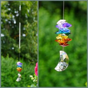 Chakra Moon - Moon crystal with cascade of rainbow coloured octagons Suncatcher made with Swarovski crystals