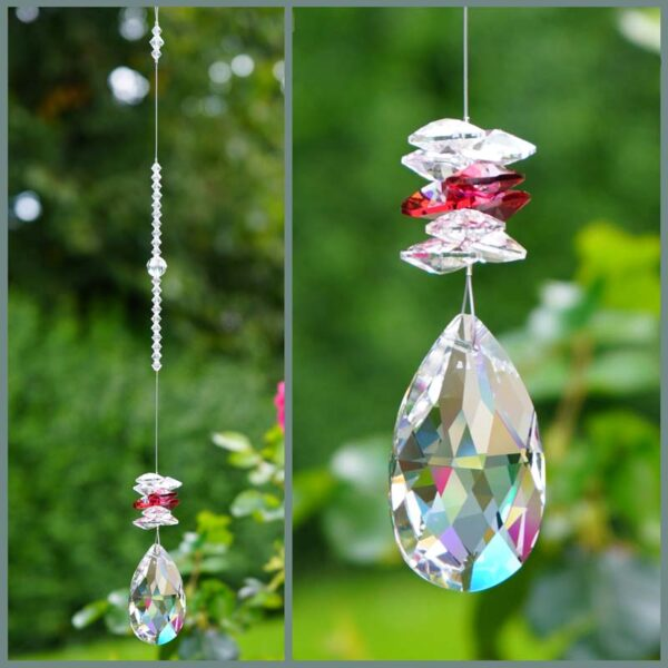 Clear Pear shaped crystal with red and clear cluster Swarovski crystal suncatcher