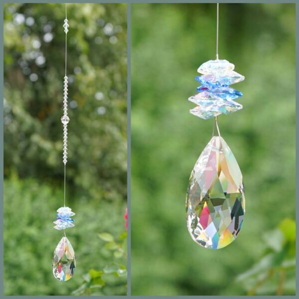Clear pear with light sapphire and clear cluster Swarovski crystal suncatcher