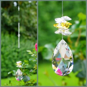 Clear pear with yellow and clear cluster Swarovski crystal suncatcher. Retha Designs