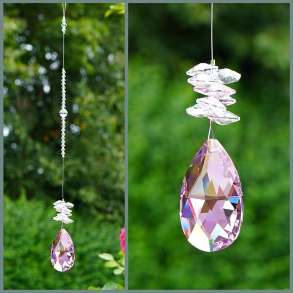 Light Pink Pear with clear cluster Swarovski crystal suncatcher