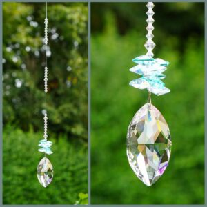 Marquis Suncatcher with Teal & Crystal AB cluster - made with swarovski crystals. Retha Designs