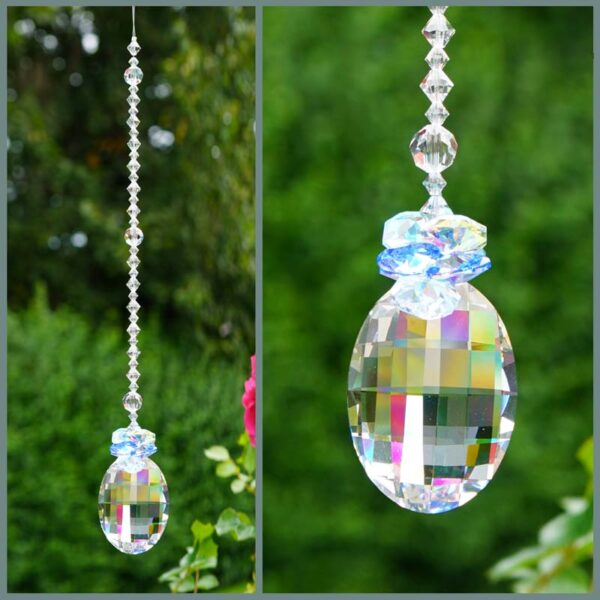 Matrix Suncatcher with Light Sapphire & Crystal AB cluster - made with swarovski crystals