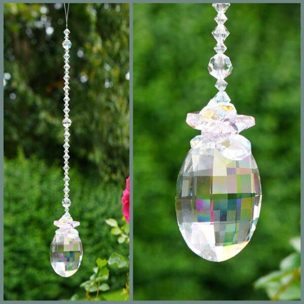 Matrix Suncatcher with Rosaline Pink & Crystal AB cluster - made with swarovski crystals