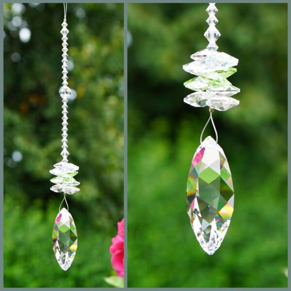 Twist - Suncatcher with Swarovski Twist crystal and cascade of clear octagons on a stand of smaller clear crystals