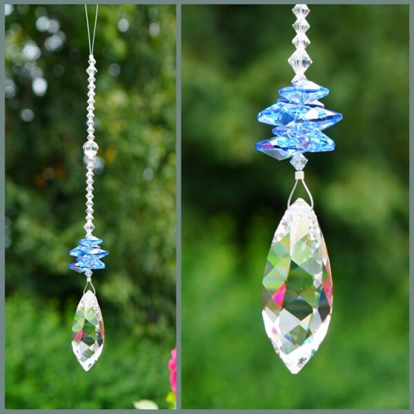 Twist - Suncatcher with Swarovski Twist crystal and cascade of light sapphire octagons on a stand of smaller clear crystals