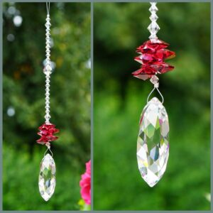 Twist - Suncatcher with Swarovski Twist crystal and cascade of red (Bordeaux) octagons on a stand of smaller clear crystals