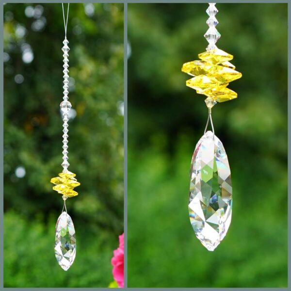 Twist - Suncatcher with Swarovski Twist crystal and cascade of yellow (light topaz) octagons on a stand of smaller clear crystals