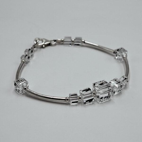 Clear Swarovski crystal Cube Bracelet