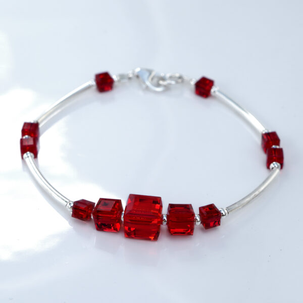 Lobster-clasp-bracelet-made-with-Sterling-Silver-and-Siam-(red)-coloured-Swarovski-crystal-cubes