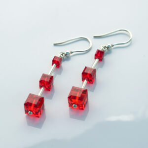 Light-Siam-red- Cube-earrings-swarovski-crystal-hook-retha-designs