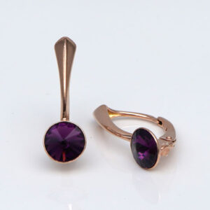 Rose Gold plated Silver Leverback earrings-Amethyst Swarovski crystals