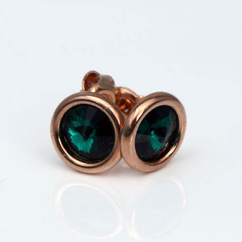 18K Rose Gold Plated .925 Silver stud earrings crafted -Emerald Swarovski® crystals. May birthstone