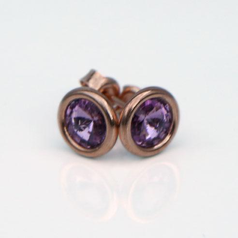 Rose Gold Plated .925 Silver stud earrings -Light Amethyst Swarovski crystals. June birthstone