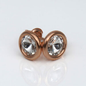 18K Rose Gold Plated .925 Silver stud earrings -clear Swarovski® crystals. April birthstone