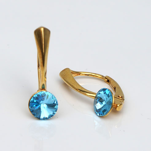 Gold plated Silver Leverback earrings- Aquamarine Swarovski crystals