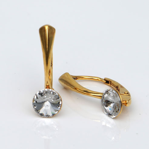Gold platedSilver Leverback earrings-round Clear Swarovski crystals