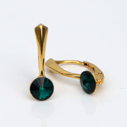 Gold plated Silver Leverback earrings-round Emerald Swarovski crystal