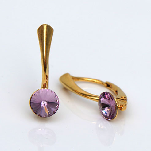 Gold plated Silver Leverback earrings-Light Amethyst Swarovski crystal