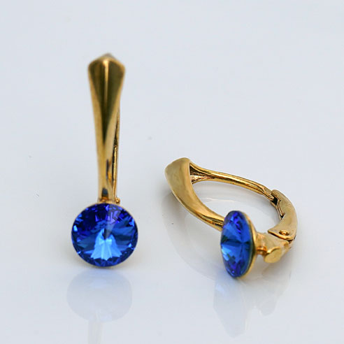 Gold plated Silver Leverback earrings- Sapphire Swarovski crystals