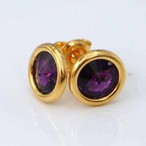 24k Gold Plated .925 Silver stud earrings crafted with Amethyst Swarovski® crystals. February birthstone jewellery.