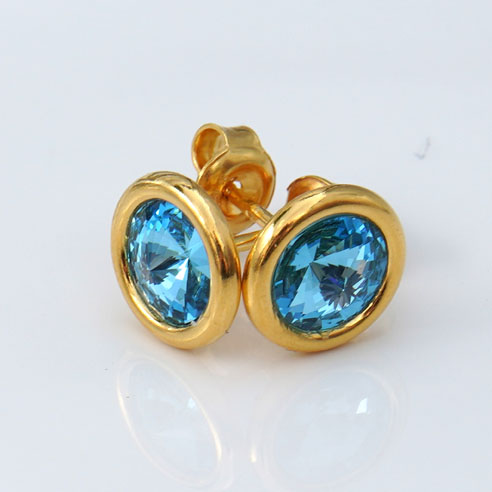 24k Gold Plated .925 Silver stud earrings crafted with Aquamarine blue Swarovski® crystals. March birthstone jewellery.