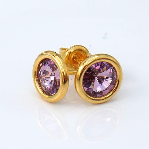 24k Gold Plated Sterling Silver Stud Earrings with Light Amethyst Swarovski® crystals. June birthstone jewellery.