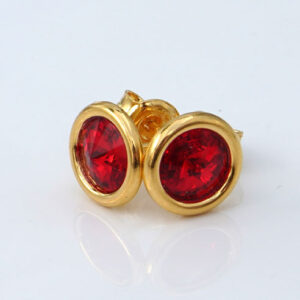 24k Gold Plated Sterling Silver stud earrings crafted with Light Siam (Ruby Red) Swarovski® crystals. July birthstone jewellery.