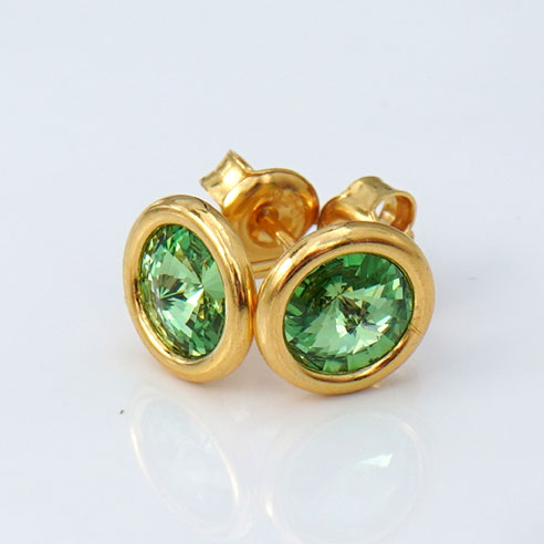 24k Gold Plated Sterling Silver Stud Earrings crafted with Peridot green Swarovski® crystals. August birthstone jewellery.