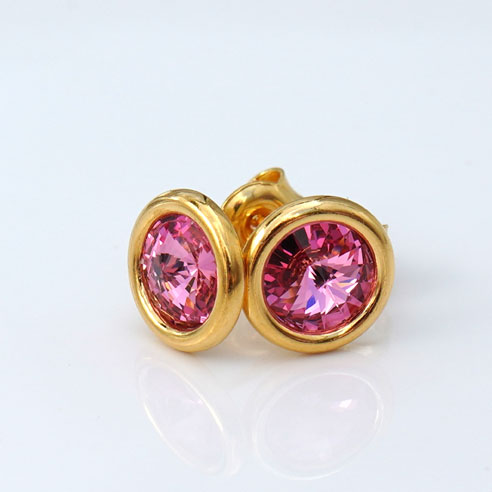 24k Gold Plated Sterling Silver Stud Earrings crafted with Rose pink coloured Swarovski® crystals. October birthstone jewellery.
