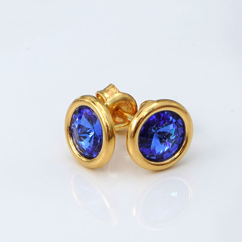 24k Gold Plated.925 Silver stud earrings crafted with Sapphire Blue Swarovski® crystals. September birthstone jewellery. Retha Designs.