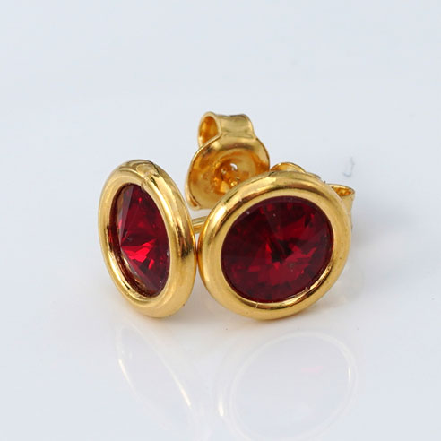24k Gold Plated .925 Silver stud earrings crafted with Siam (Garnet Red) coloured Swarovski® crystals. January birthstone jewellery.