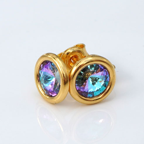 24k Gold Plated .925 Silver stud earrings crafted with Vitrial Light ( a kaleidoscope of pink, purple, blue and green colours) Swarovski® crystals.