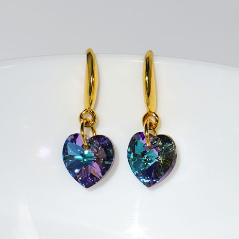 Earwire 24k gold plated .925 silver 10mm Vitrial Light Swarovski heart. Retha Designs