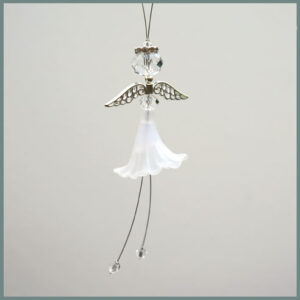 Beaded angel-White skirt, clear body & halo-First Communion gift idea
