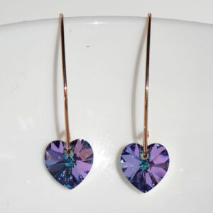 18K Rose Gold plated silver wire earrings -Vitrial Light Swarovski crystal hearts. Retha Designs