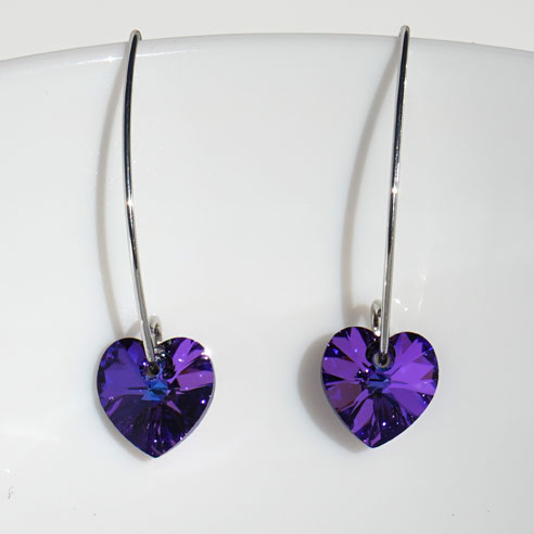 Rhodium plated silver marquise wire earrings with purple Swarovski crystal hearts. Retha Designs
