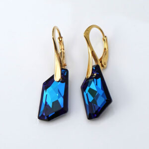 Gold plated Silver Leverback earrings -Bermuda Blue angular Swarovski crystals. Retha Designs