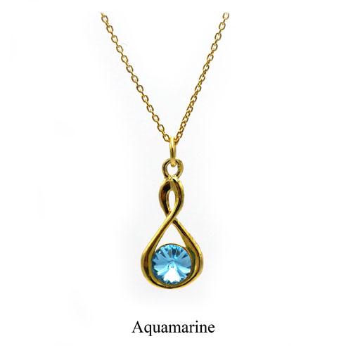 Gold Infinity necklace with an Aquamarine Swarovski crystal. March birthstone. Retha Designs