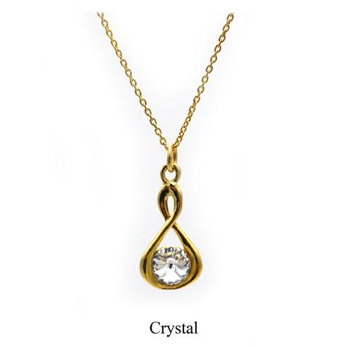 Gold Infinity necklace with a Clear Swarovski crystal. April birthstone. Retha Designs
