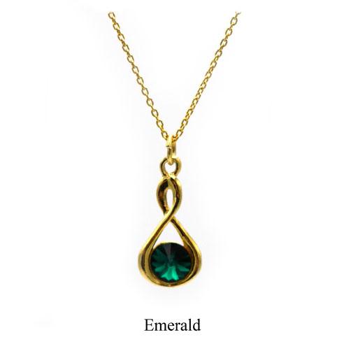 Gold Infinity necklace with an Emerald Swarovski crystal. May birthstone. Retha Designs
