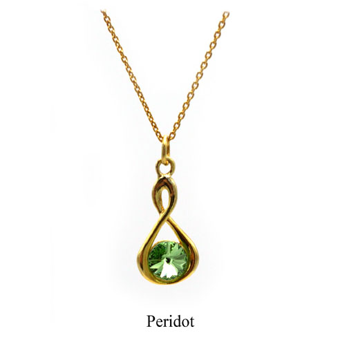 Gold Infinity necklace with a Peridot green Swarovski crystal. August birthstone. Retha Designs