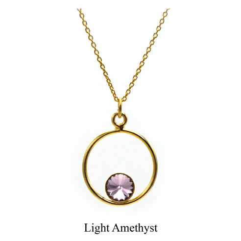 Gold plated Sterling Silver Circle necklace- Light Amethyst Swarovski crystal. June birthstone