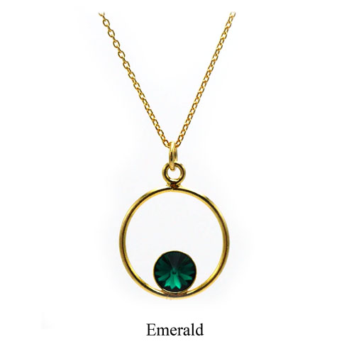 Gold plated Sterling silver Circle necklace -Emerald Swarovski crystal. May birthstone