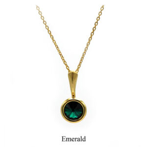 May birthstone. Gold Drop pendant necklace with an Emerald green Swarovski crystal. Retha Designs